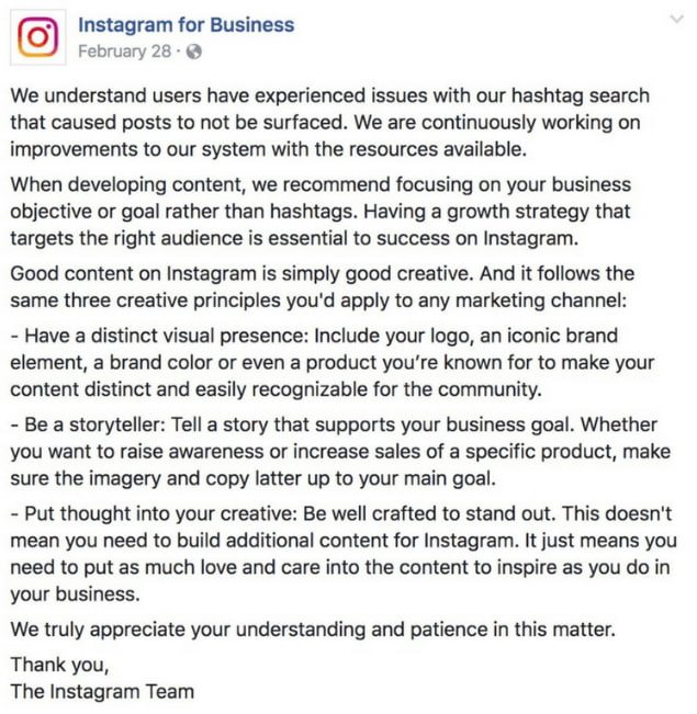 Instagram for Business posted statement that alluded to shadowbanning on their Facebook page in Feb 2019