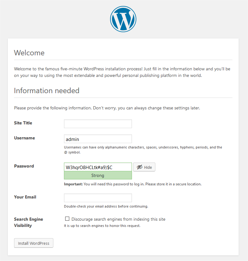 Form to complete 5-minute for WordPress