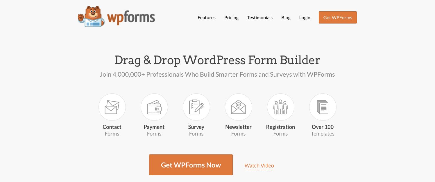 product homepage for the wordpress file upload plugin wpforms