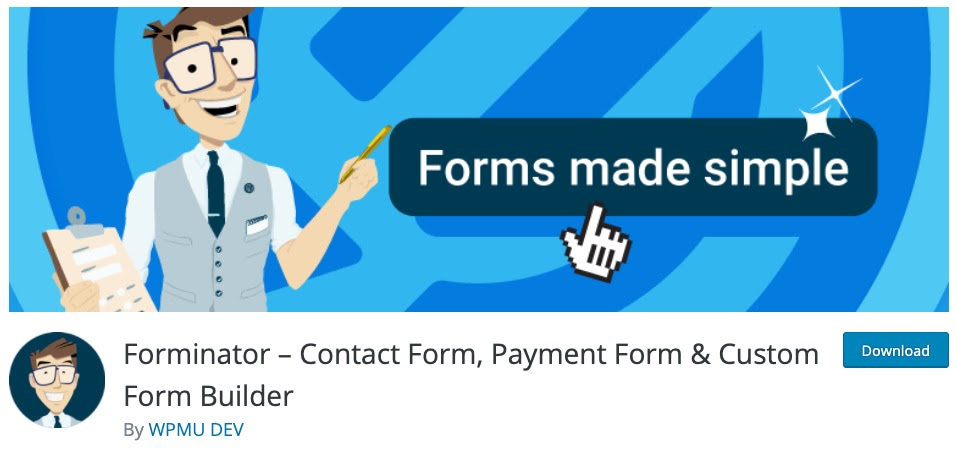 product homepage for the wordpress file upload plugin forminator