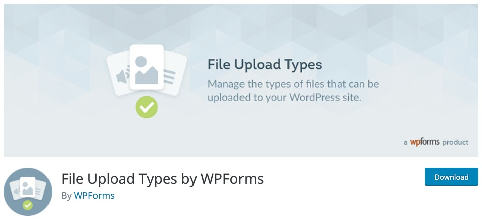 download page for the wordpress file upload plugin File Upload Types by WPForms
