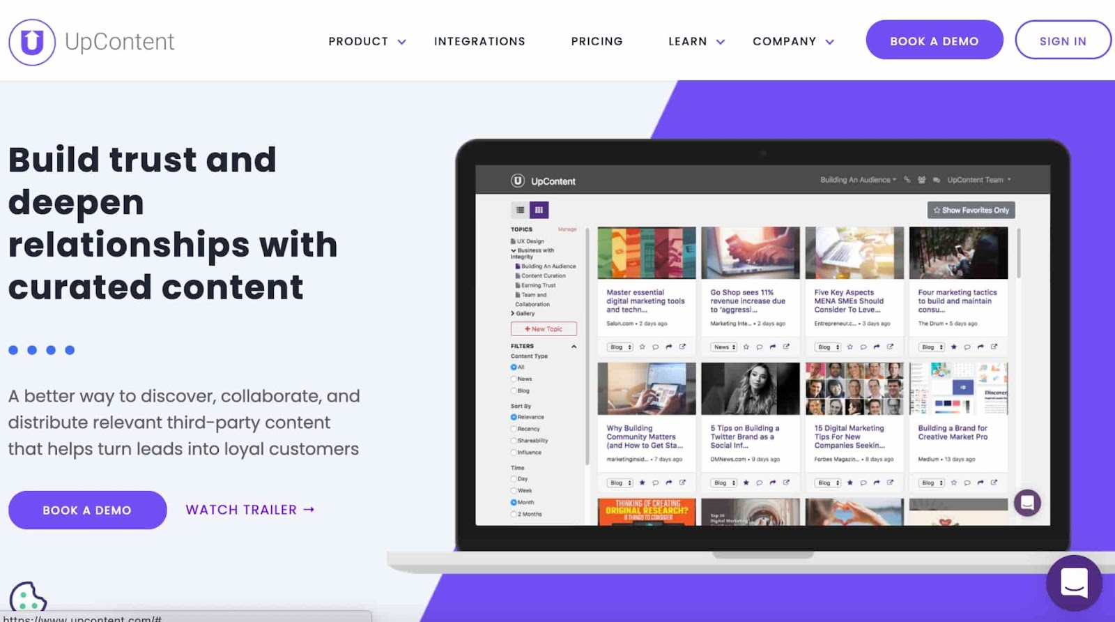 Content curation tool UpContent