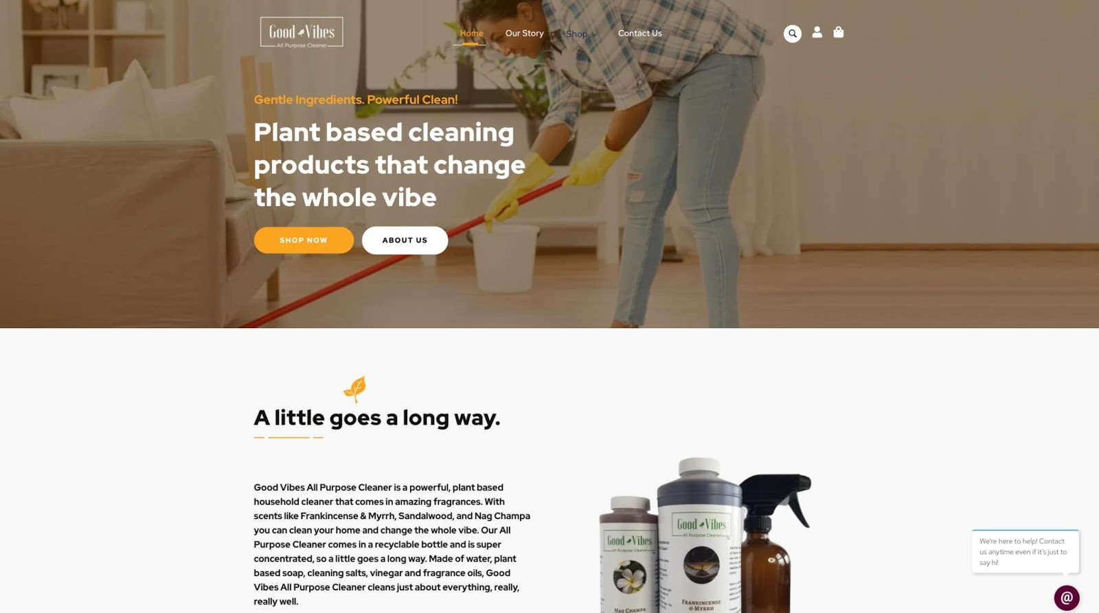 homepage for the small business website design example good vibes all purpose cleaner