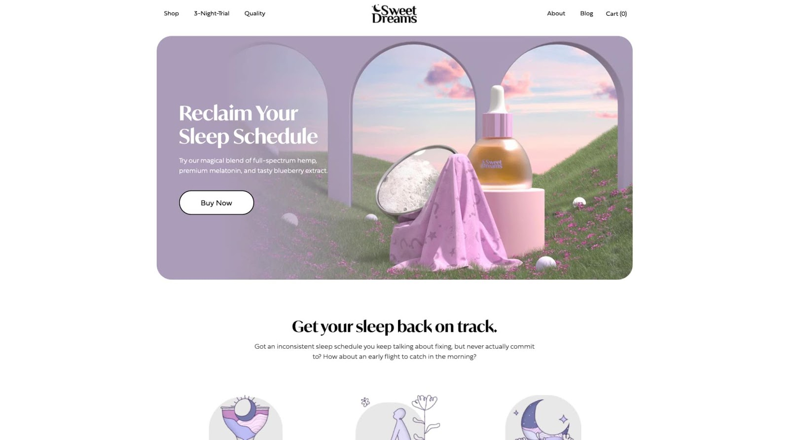homepage for the small business website design example sweet dreams