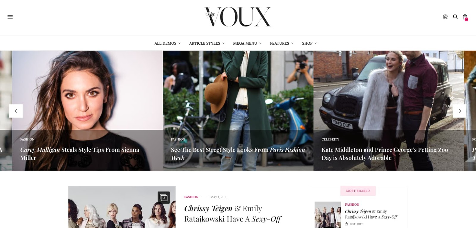 demo of the wordpress theme for adsense the voux