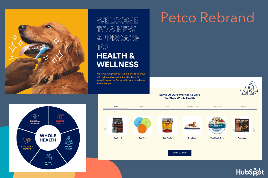 Petco's rebrand as a health and wellness company for animals.