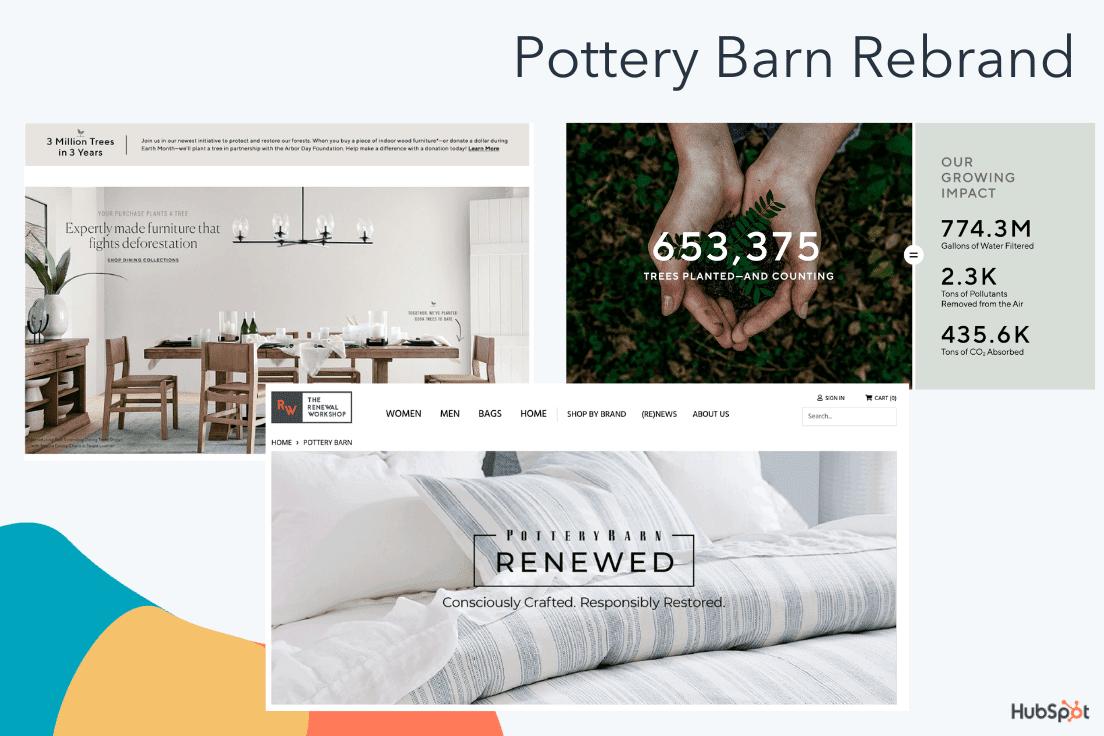 Pottery Barn's rebranding materials