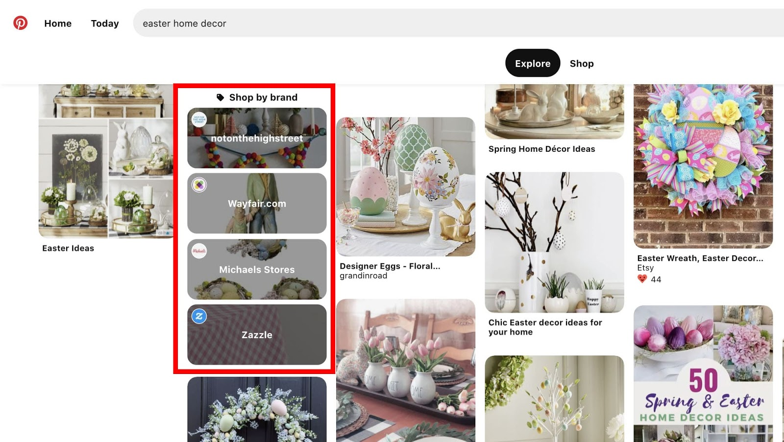 """Pinterest's """"Shop by Brand"""" category on the search results page for """"easter home decor"""""""