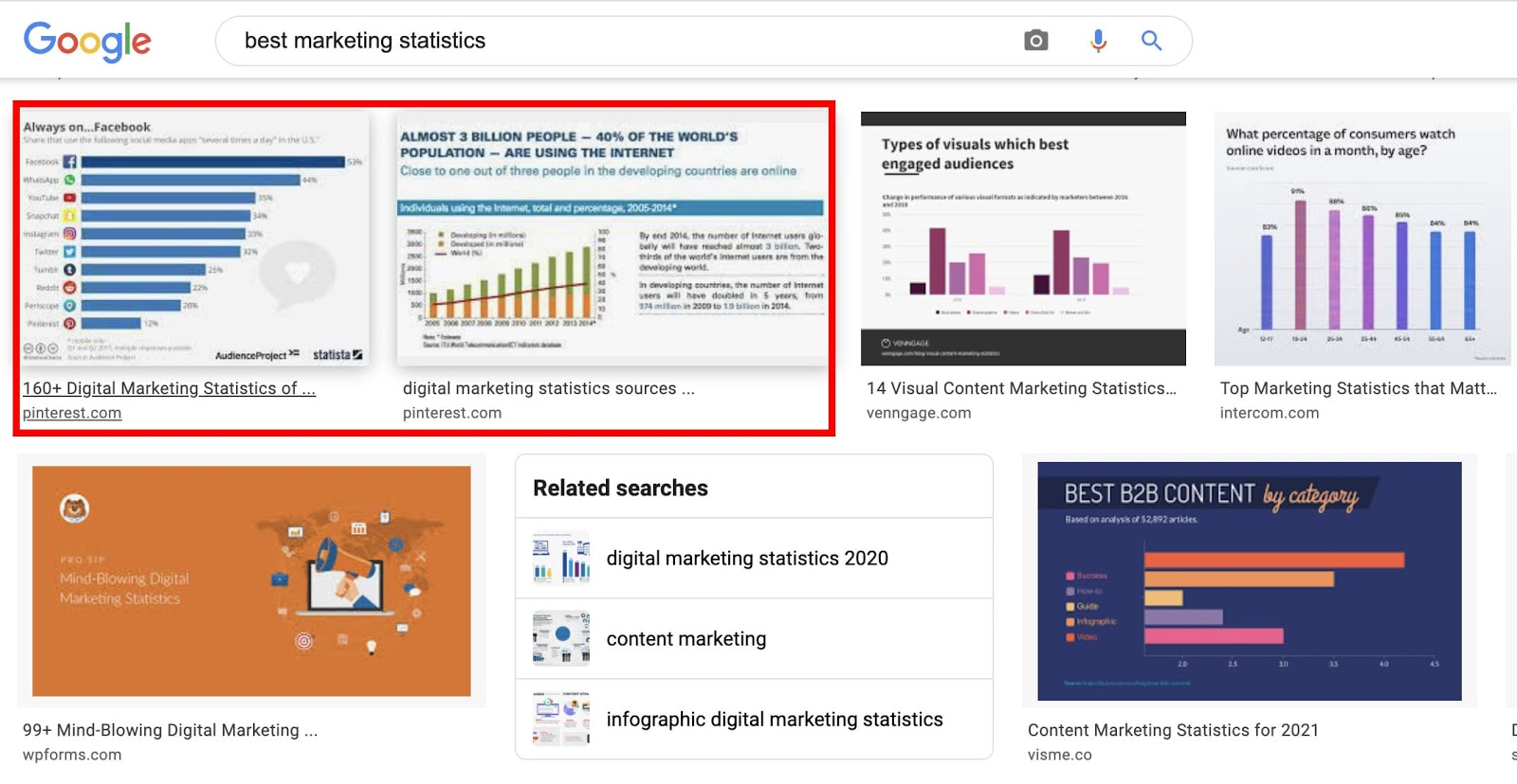 """The image search results page on Google for the search term, """"best marketing statistics"""""""