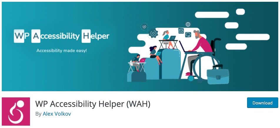 download page for the wordpress accessibility plugin wp accessibility helper