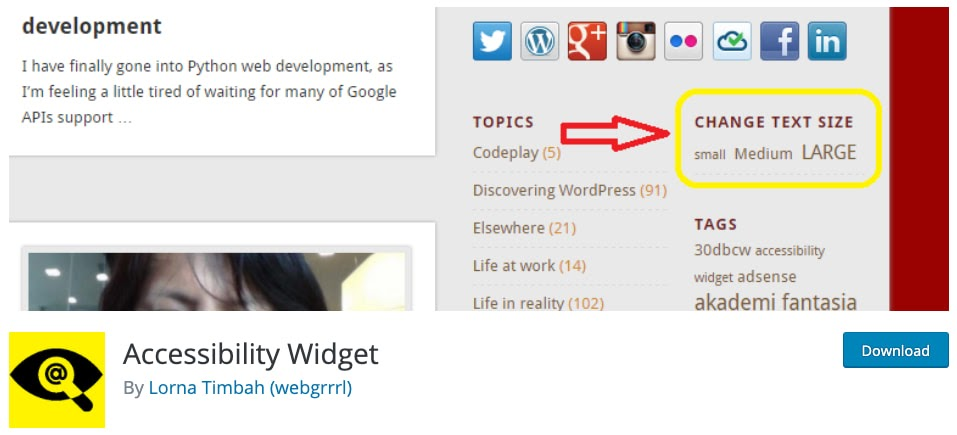 download page for the wordpress accessibility plugin Accessibility Widget