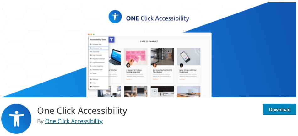 download page for the wordpress accessibility plugin one click accessibility