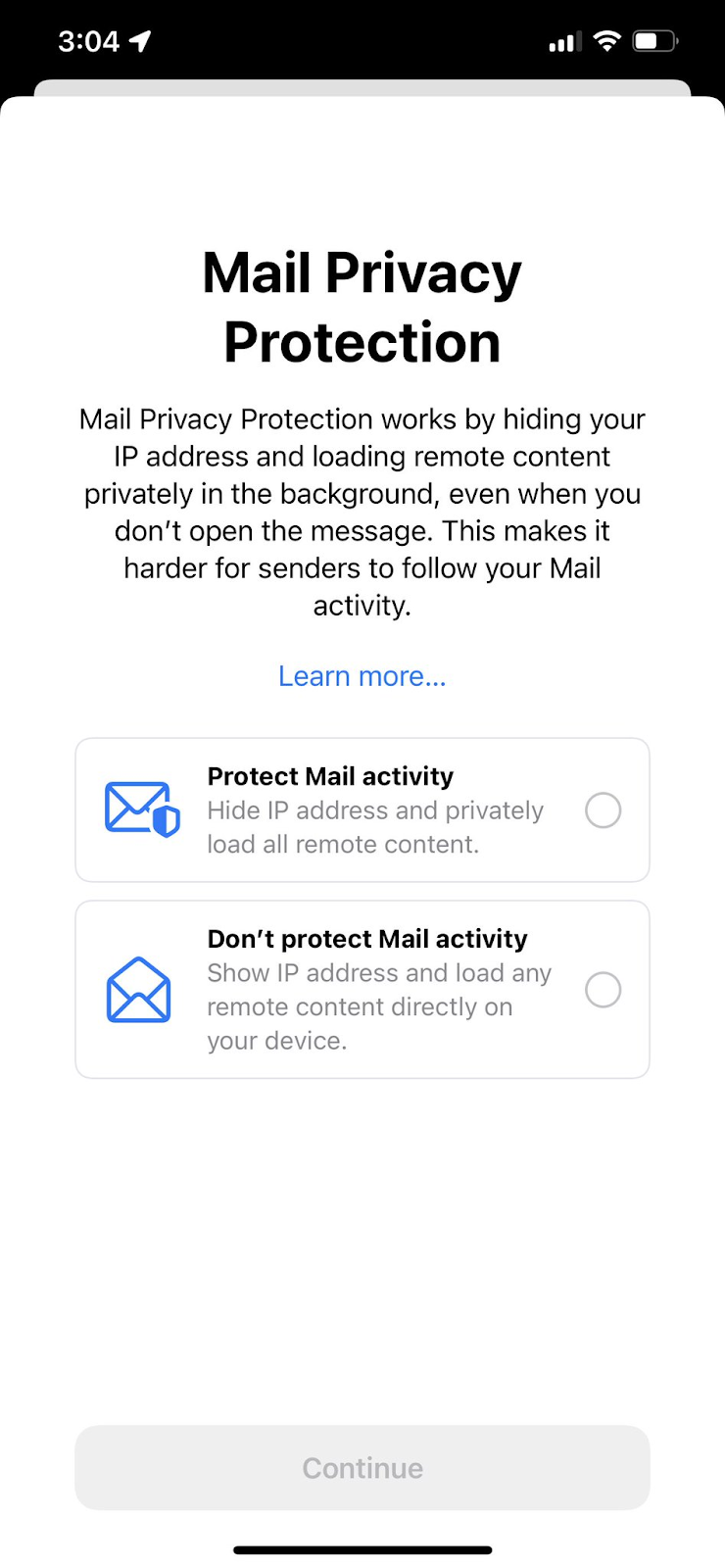 apple ios email permission page