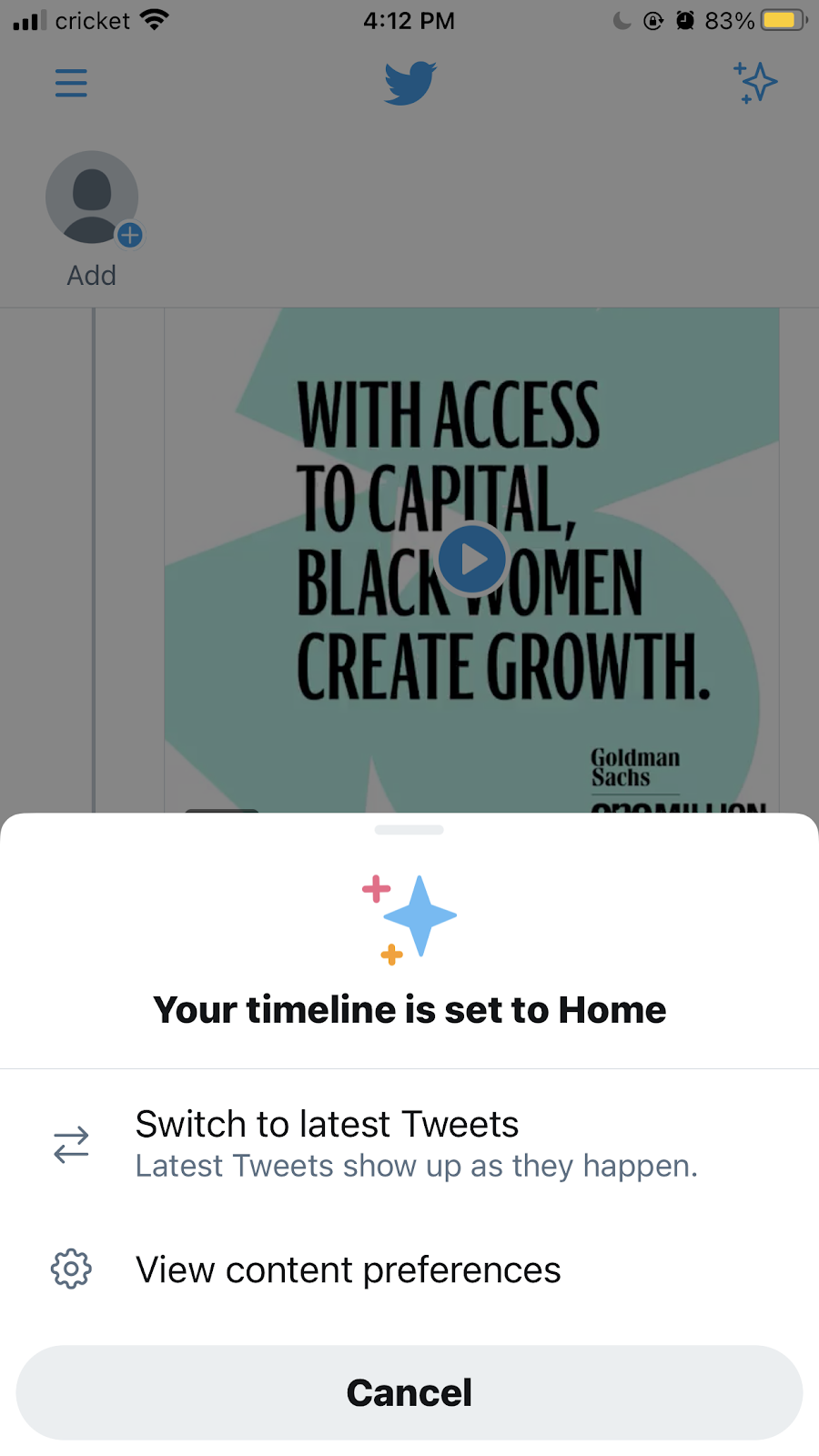Set your Twitter timeline to see latest tweets first
