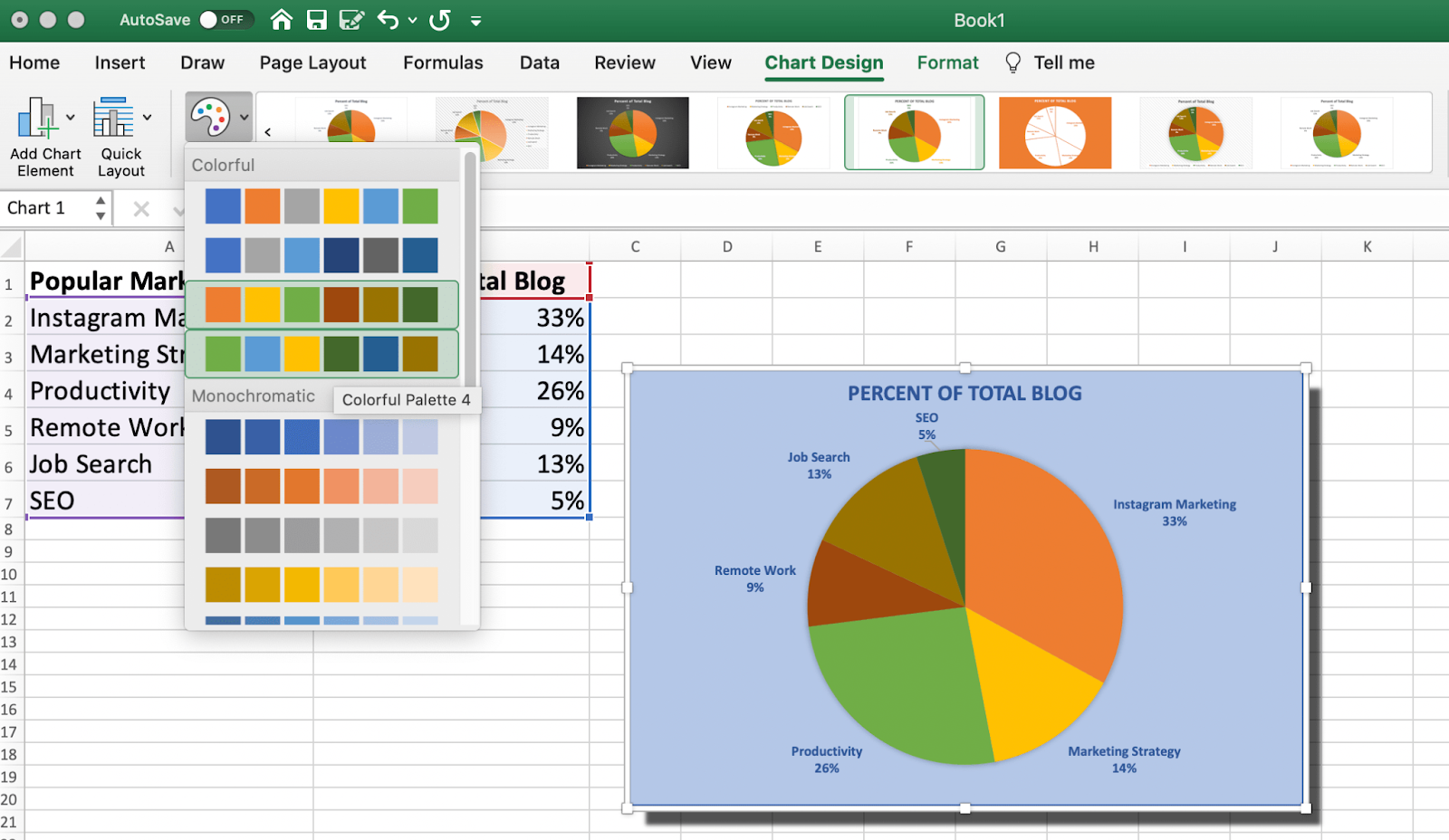 The color options for your pie chart in excel as pre-set by excel.