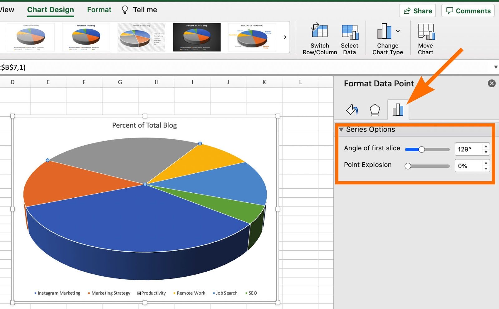 How to rotate a pie chart in excel using format data point.