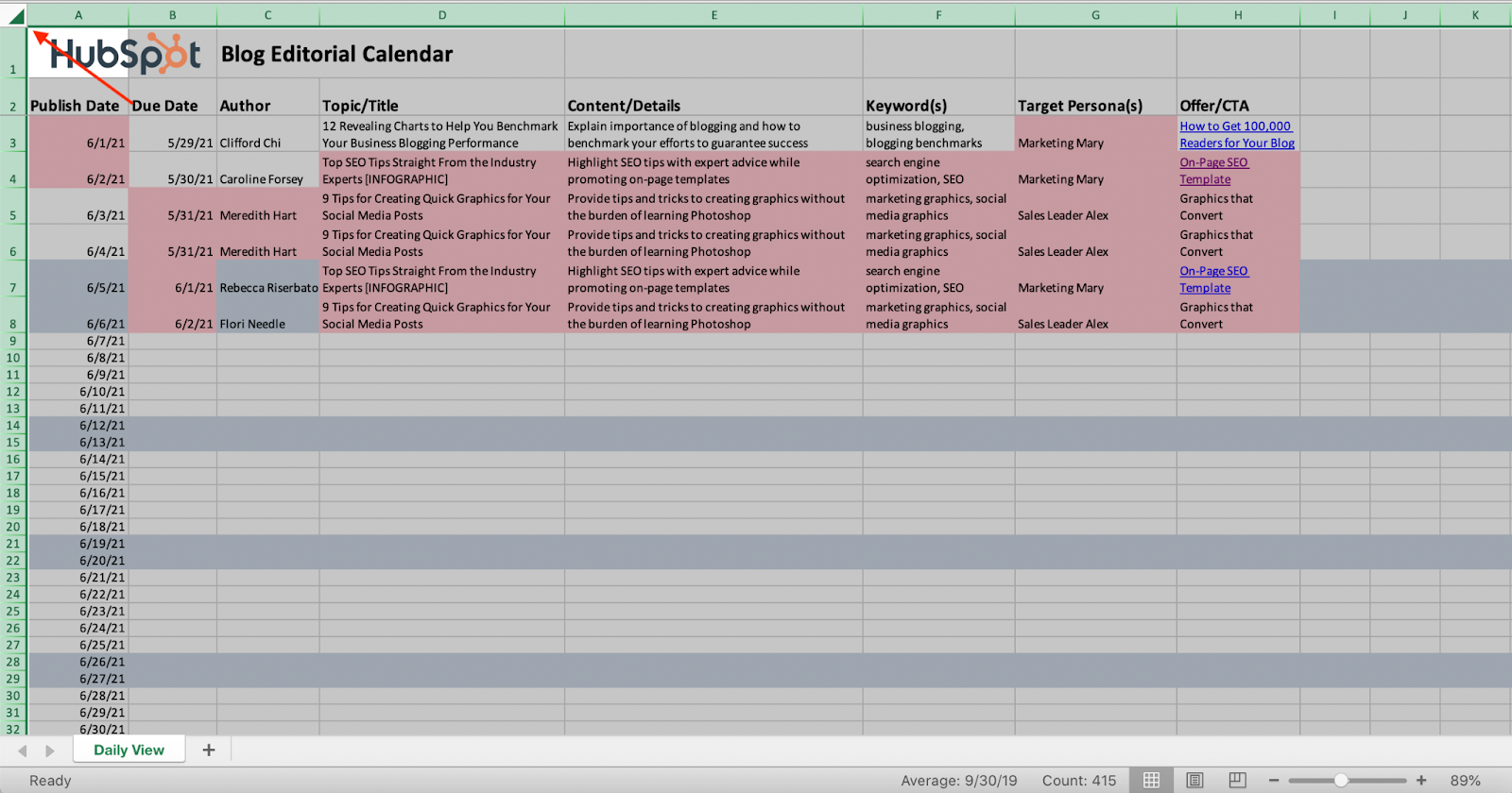 Screenshot of an Excel doc with the entire sheet highlighted.