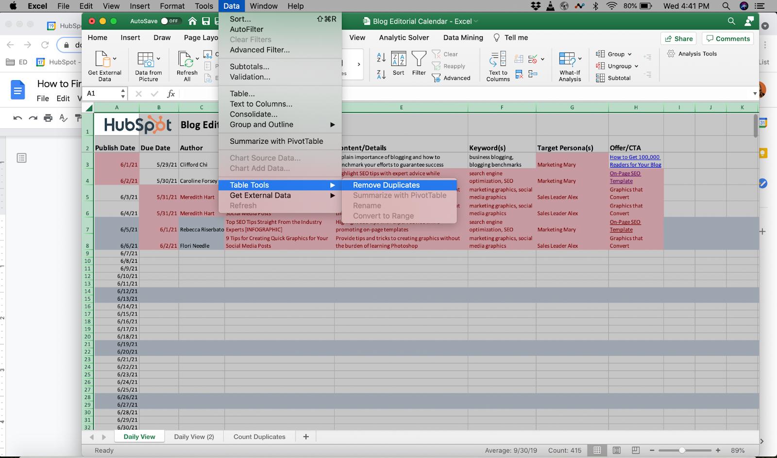 Remove duplicates Excel function.