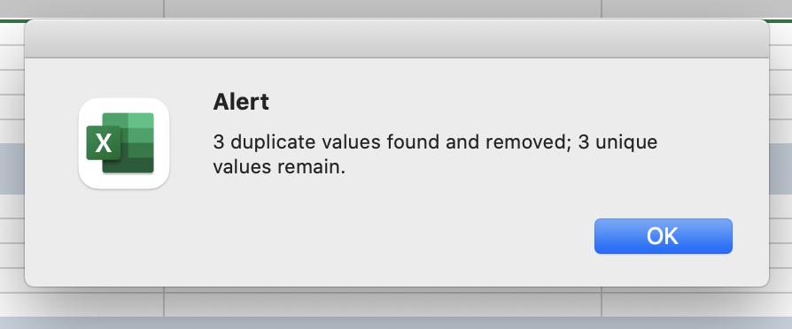 Screenshot of an Alert from Excel.