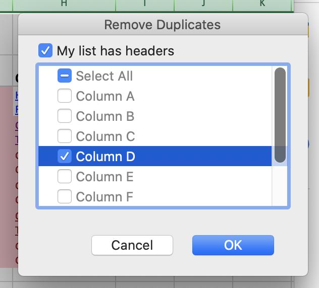 Remove duplicates column selector on Excel.