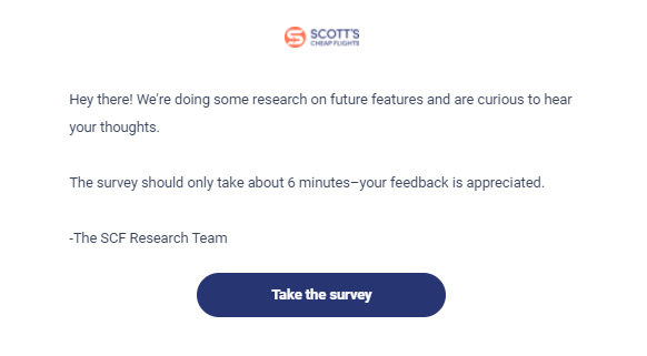 survey introduction example: Scott's Cheap Flights