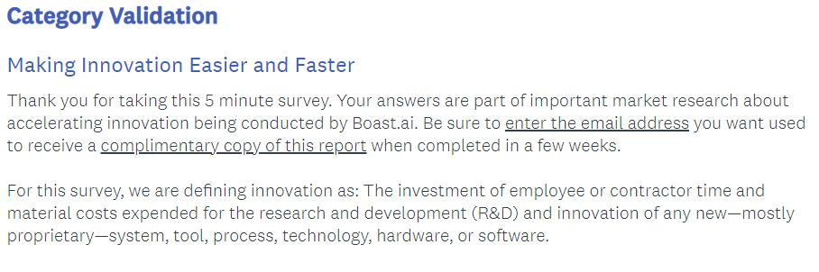 survey introduction example: Boast.ai