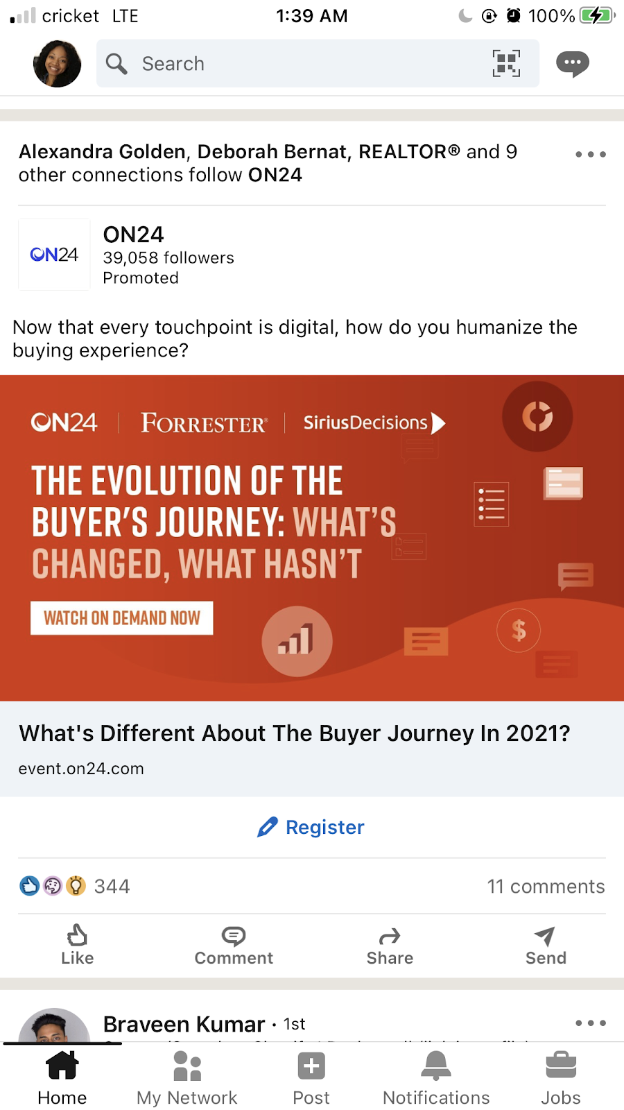 On24 LinkedIn ad about a webinar on the topic of the evolution of the buyers journey