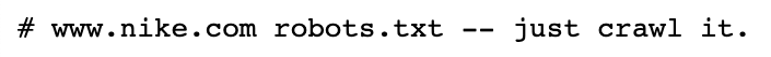Nike robots.txt to instruct web crawler what to index