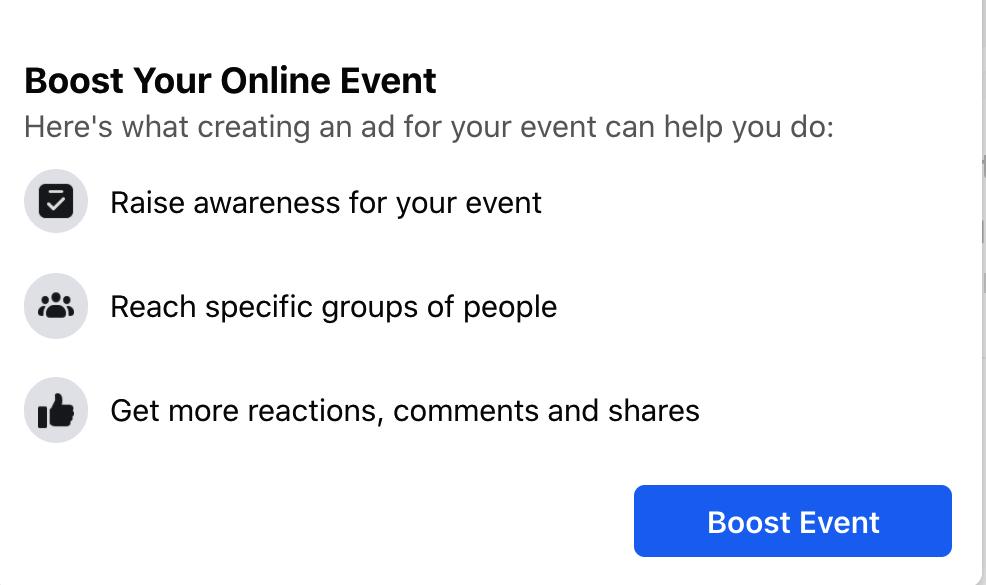 Facebook's Boost Your Online Event pop-up