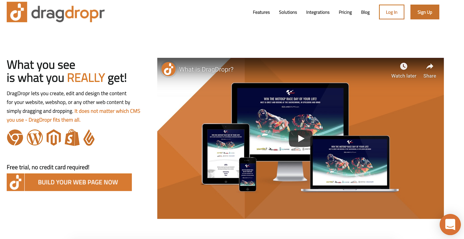 product page for the WordPress plugin dragdropr