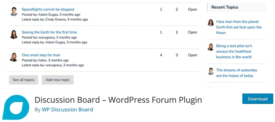 product page for the wordpress forum plugin discussion board