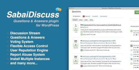product page for the wordpress forum plugin sabai discuss