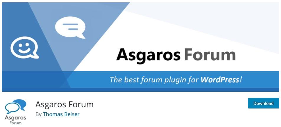 product page for the wordpress forum plugin asgaros forum