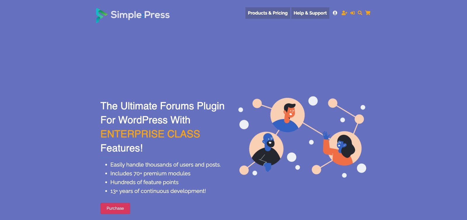 product page for the wordpress forum plugin simple:press