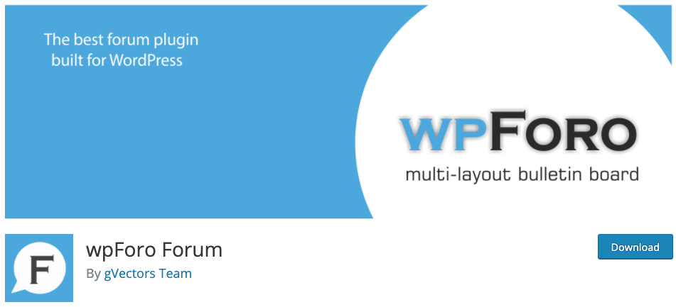 product page for the wordpress forum plugin wpforo forums