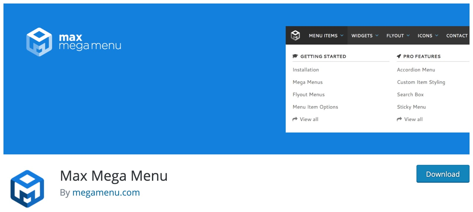 product page for the mobile-friendly wordpress plugin max mega menu