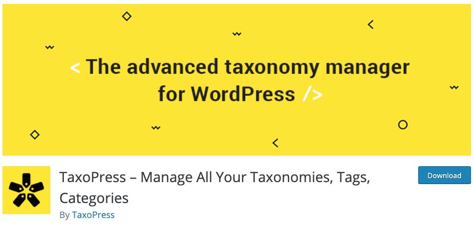 download page for the wordpress traffic plugin taxopress