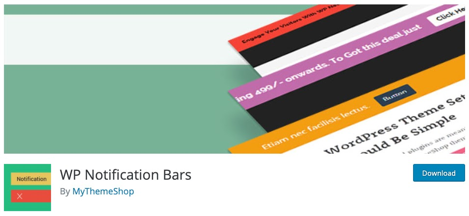 download page for the wordpress traffic plugin WP notification bars