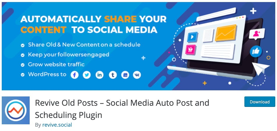 download page for the wordpress traffic plugin revive old posts