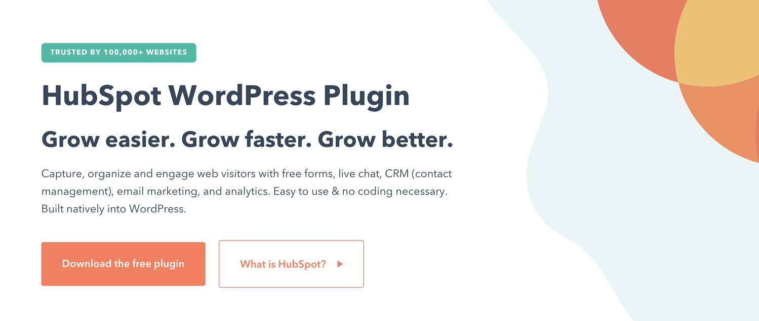 product page for the wordpress traffic plugin HubSpot WordPress Plugin