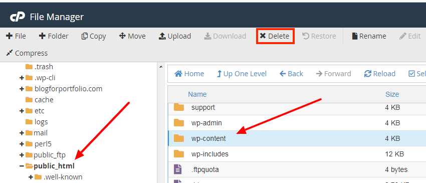 Delete the wp-content folder to to continue resetting WordPress without a plugin