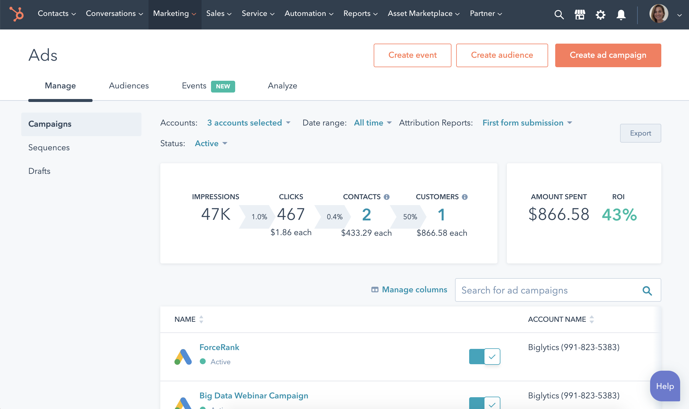 Get started with HubSpot ad management.