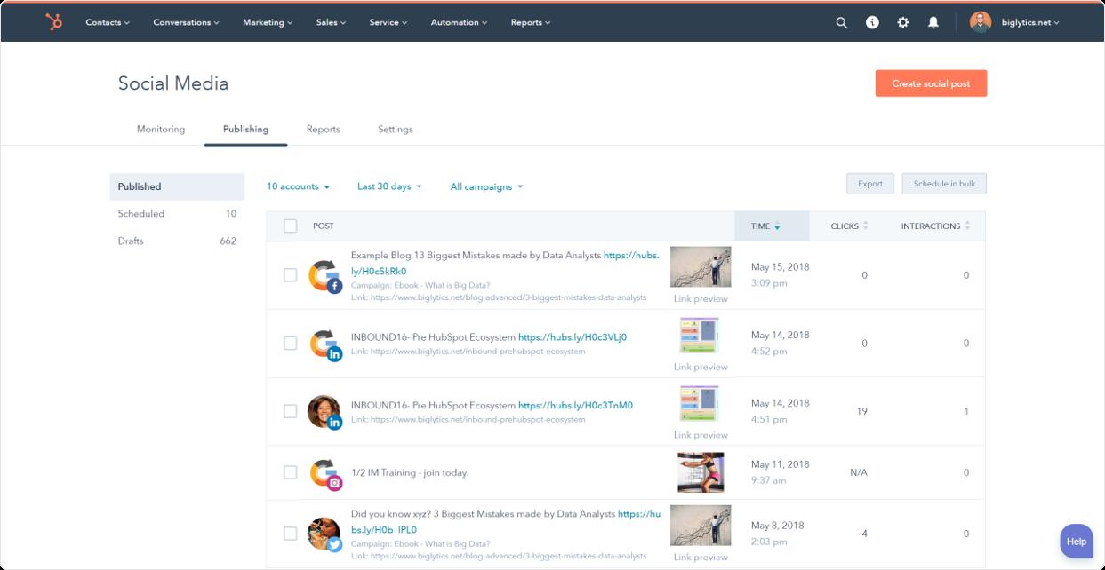 HubSpot Marketing-Software – Social-Media-Management-Tool Übersicht