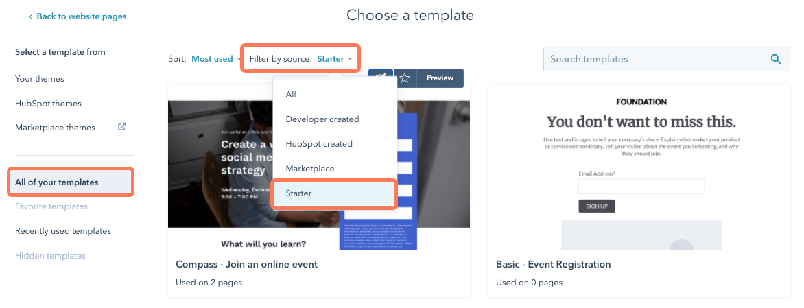 select-a-starter-template