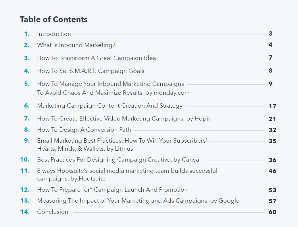 Inbound Marketing Campaign Table of Contents