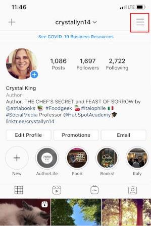 Convert Instagram to Business Profile: Tap Hamburger Menu