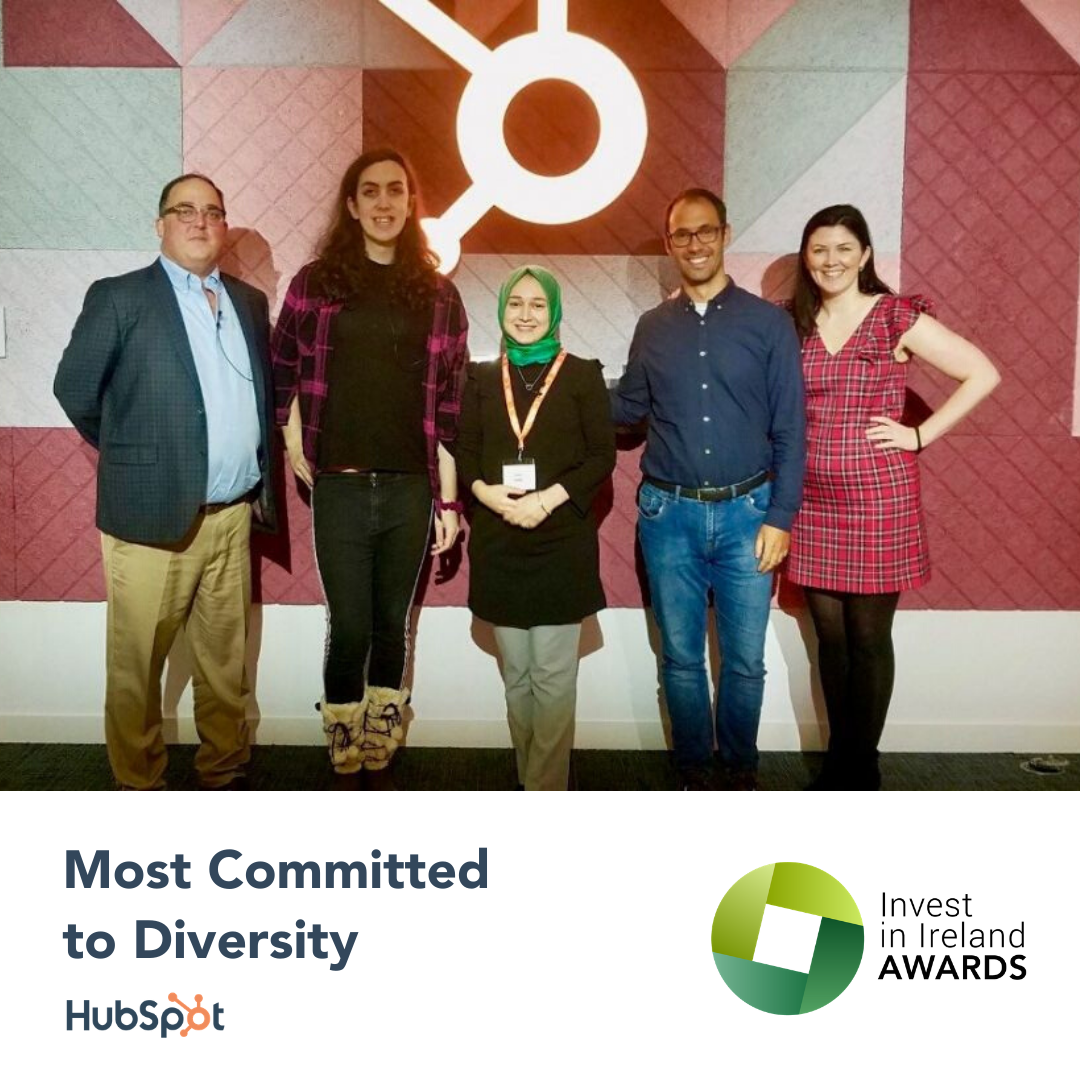 HubSpot Dublin Shortlisted as a Most Committed to Diversity Company by Invest in Ireland