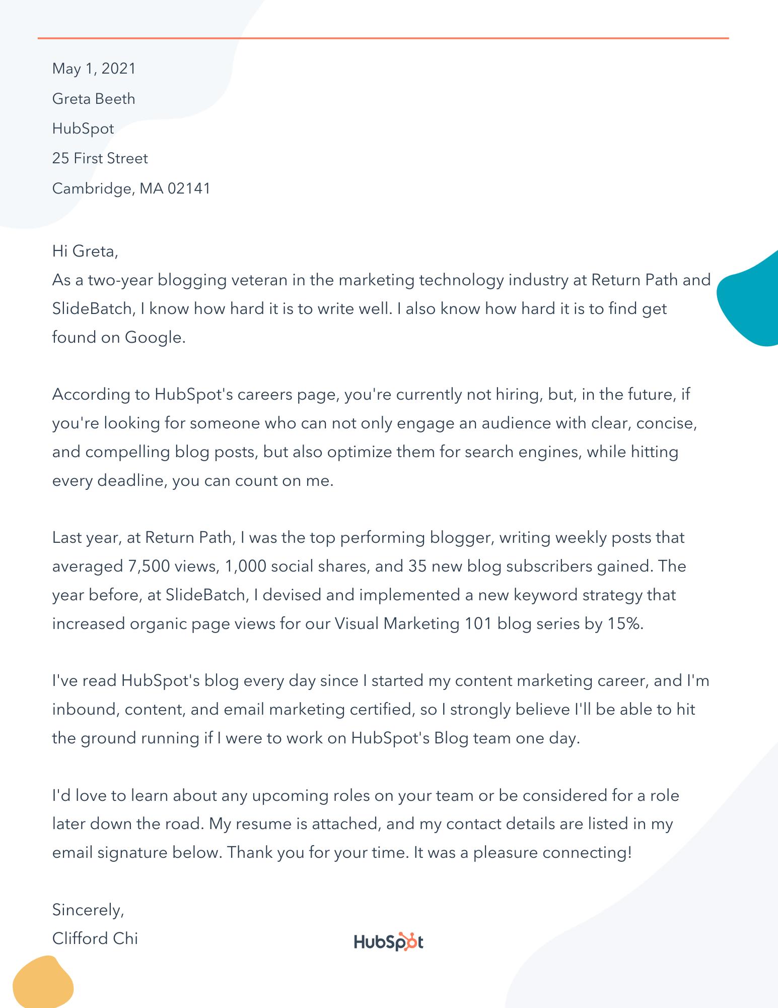 Letter of Interest Sample Letter