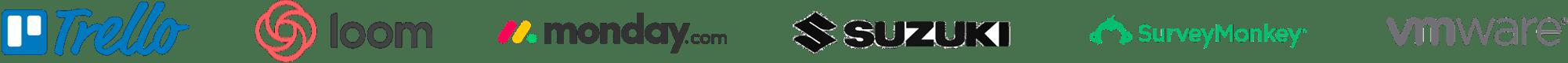 Trello, Loom, Monday.com, Suzuki, Survey Monkey, and VMWare logos