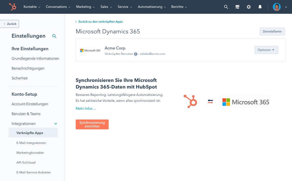 Microsoft Dynamics Daten synchronisieren mit HubSpot